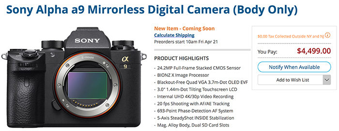Here comes the first Canon/Nikon killer: The Sony A9 gets announced ...