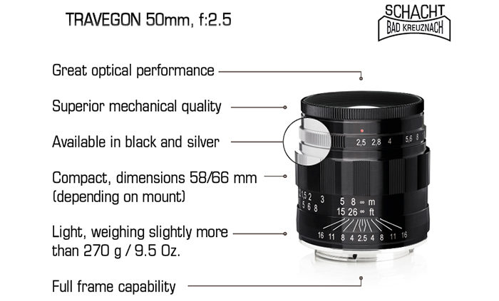 New Schacht Travegon 50mm f/2.5 for Leica, Fuji and Sony mirrorless ...
