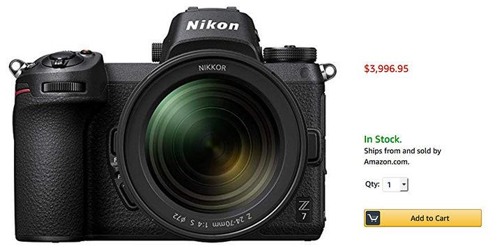 the new nikon z7 is now in stock at amazon mirrorlessrumors