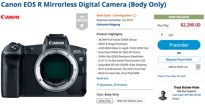 New higher end Canon EOS-R to be announced in February? Likely not