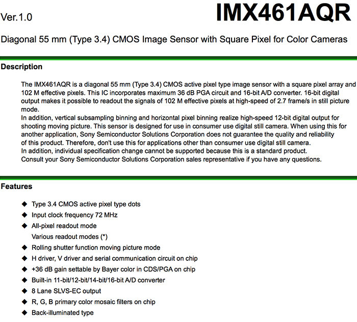 Sony published the detailed info of the new Fuji GFX-100s