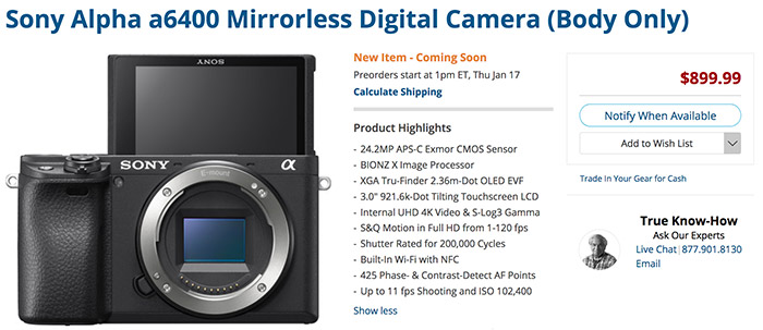 Sony announces the new A6400 vlogger oriented camera   whith