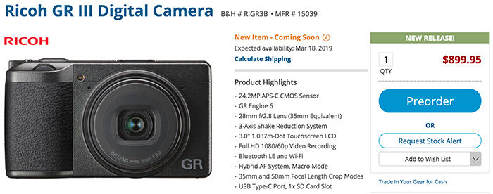 Ricoh GR III and new compact cameras announced