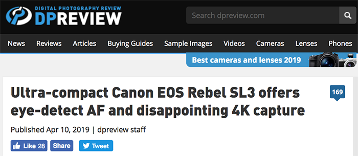 That's a first: Dpreview presentation of the Canon SL3 says